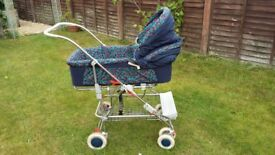 Silver Cross Arriva Pram (with detachable carrycot) and Pushchair Navy Blue with Cherry Design