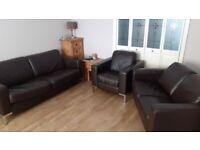 Dark brown leather 3 piece suite £40