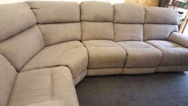 Beige fabric 5 piece corner reclining sofa