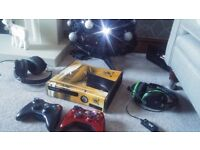 Xbox 360 in Hull City skin. 2 wireless controllers, headsets and lots of games.
