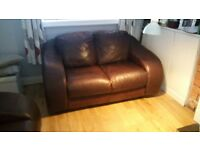 Chocolate brown Leather suite Three and Two seater sofa