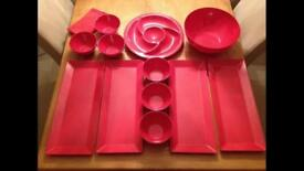 Set of party platters and bowls