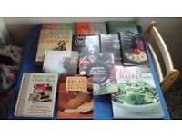 Cookery books inc Delia and River Cottage.