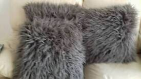 3 Large Brown Very Fluffy Cushions
