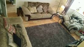 Beige and brown fabric sofa