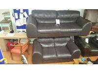 3&2 seater sofa in brown leather £275 delivered