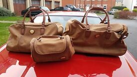 Brown leather luggage set