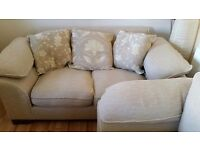Urgent! Fabric Sofa 3 piece Suite- feather filled cushions