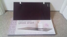 "3 Glass ""Tempered"" Black Gloss Floating Shelves (Still Boxed) 40cm by 20cm deep!!!"