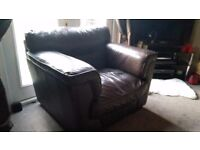 Single Seater Brown Leather Sofa Armchair