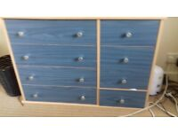 Chest of Double Drawers and Matching Bedside Cabinet Blue