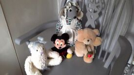 Four assorted soft toys