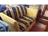 Yellow and Blue Fabric sofa