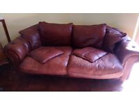 Large 2 seater real leather sofa