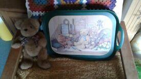 Green Teddy Bear Gardener Beanbag Lap Tray & New Traditional Jointed Teddy