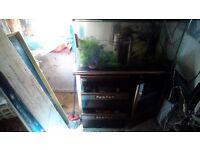 "Fantastic opticlear aquarium 18x18x39 "" inc external filter and tthree drawer/one door cabinet"