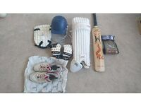 Full cricket kit - bat, pads, helmet, whites, shoes, carry bag. Great condition.