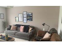 DFS Orbit Pewter/Dark Grey 4 Seater Sofa with button back