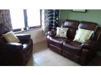 MINT CONDITION!! Brown leather recliner 2 seater sofa & matching recliner armchair ONLY £450 ono