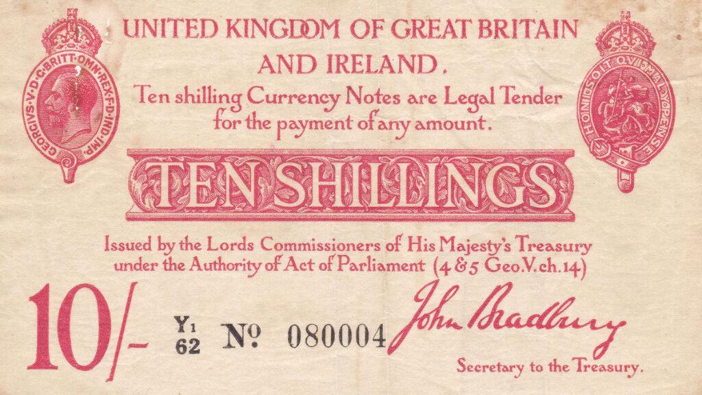 Treasury note ( bank note) 10/- ten shillings signed John Bradburyin very fine condition banknote