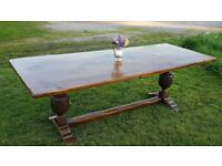 19thC Antique oak refectory table dining table