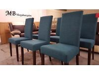 NEW Dining chairs with Teal Fabric & dark wood legs (£45 Each) **CAN DELIVER**