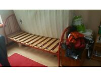 Red Single Metal Frame Bed with Dorlux Mattress worth £280!