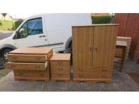 Kids wardrobe, chest of drawers and beside bed draw