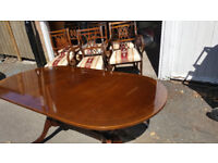 """Wood Dining Table with Six Chairs 60""""x35"""""""