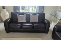 Brown leather sofa set 2 x 3 seaters and 1 x armchair