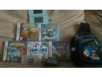 Nintendo DS with Mario + others and bag