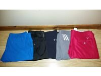 5 pair of golf trousers. 38W34L. 2 ×CALLAWAY, UNDER ARMOUR,PING and ADIDAS