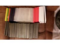 59 used empty dvd cases in variety of colours