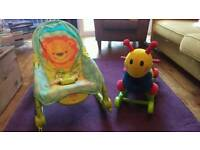 Child rocker/chair and caterpillar rocker.