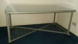 Table/desk glass top steel frame