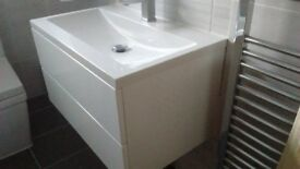 HIGH GLOSS WHITE CONTEMPORARY BATHROOM BASIN VANITY UNIT WITH 2 DRAWERS - WRONG PURCHASE, HENCE SALE