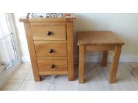 Oak 3 Drawer Bedside Table and Small Oak Table