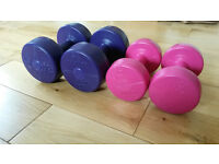 Set of dumbbells for sale, great for home workouts!