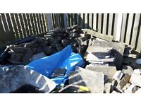 Stone for sale, including Yorkshire stone, a few flags, and one large door lintel,