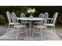 Large, Vintage Round Ercol Dining Table and 6 Chairs. Painted White. Shabby Chic.