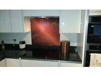 Kitchen Splashback Printed glass - Copper effect (800mm wide)