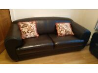 2 brown leather sofa, 2 seaters, hardly used