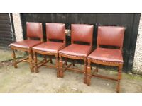 4 SOLID OAK AND LEATHER DINING CHAIRS GOOD CONDITOON FREE LOCAL DELUVERY