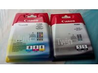 Genuine Canon Pixma printer ink (PGBK5 and CLI8)