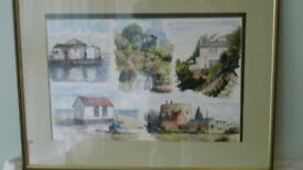 Water colour painting of Felixstowe