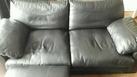 Leather black 3 seater + circular cuddle chair + storage pouffe