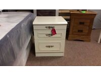 GOOD CONDITION! 2 drawer white bedside cabinet with pull out sideboard feature