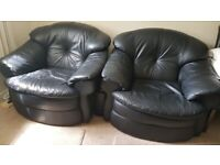 2 X BLACK LEATHER SOFA