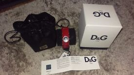 D&G dolce and gabanna red leather ladies watch