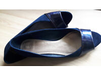 Marks And Spencer's Ladies Shoes Navy Blue Suede and Patent Peep Toe Size 8